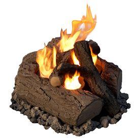 Real Flame Oak Concrete Gas Fire Pit Log Set 320