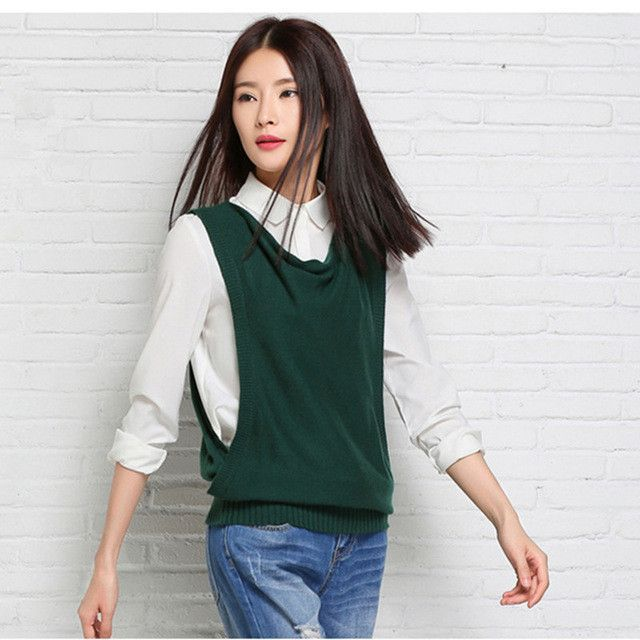 2016 spring New female Korean Cashmere wool turtleneck sleeveless ...