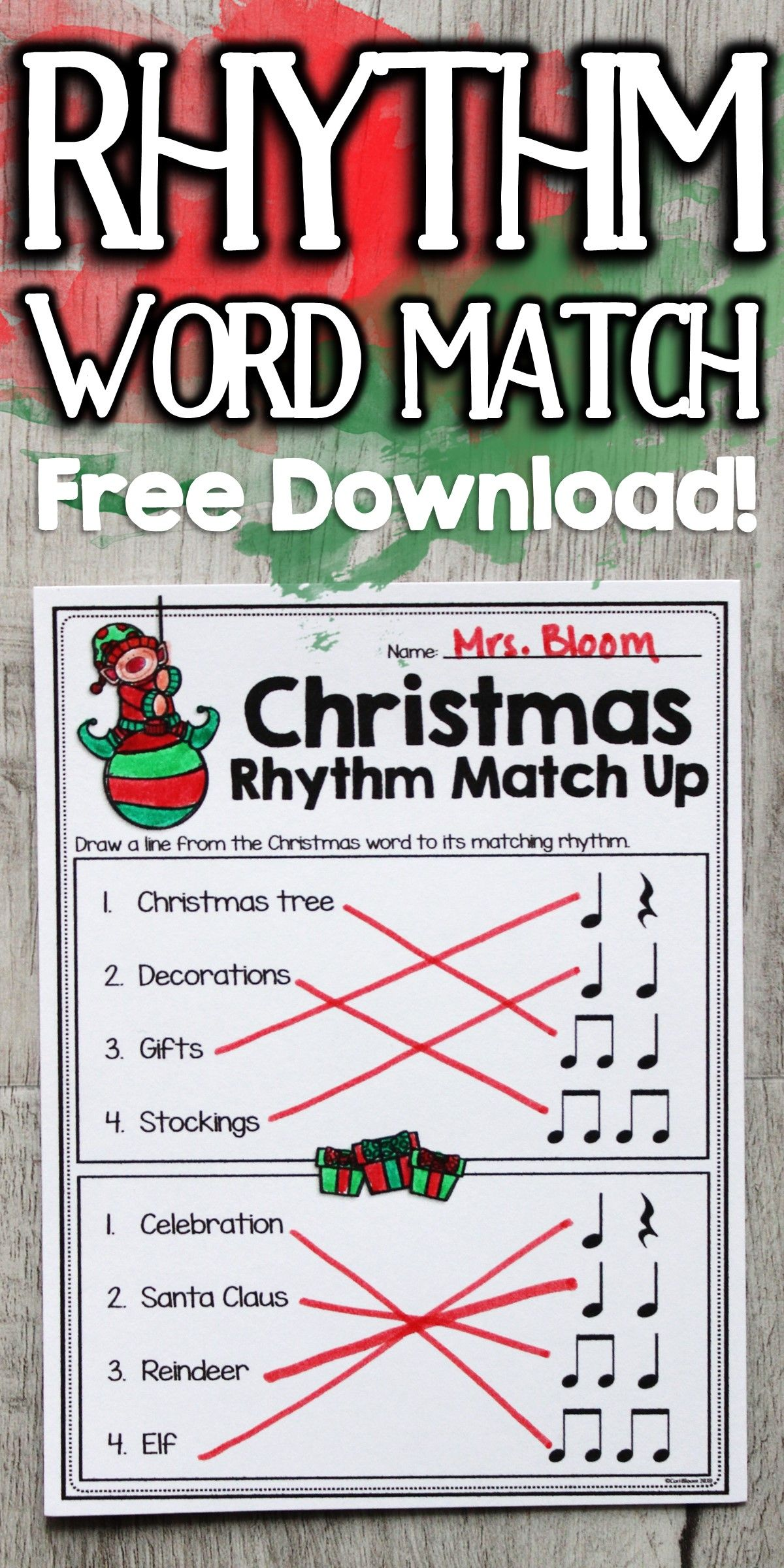 Rhythm Worksheets Rhythm Word Match