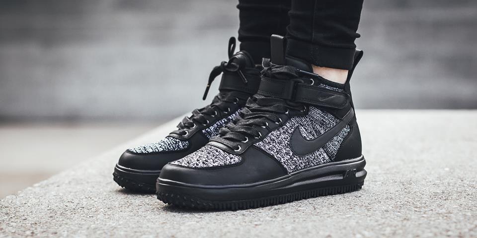 promo code 56bb9 f5422 Nike Lunar Force 1 Flyknit Workboot Black Grey Men s Skateboarding Shoes