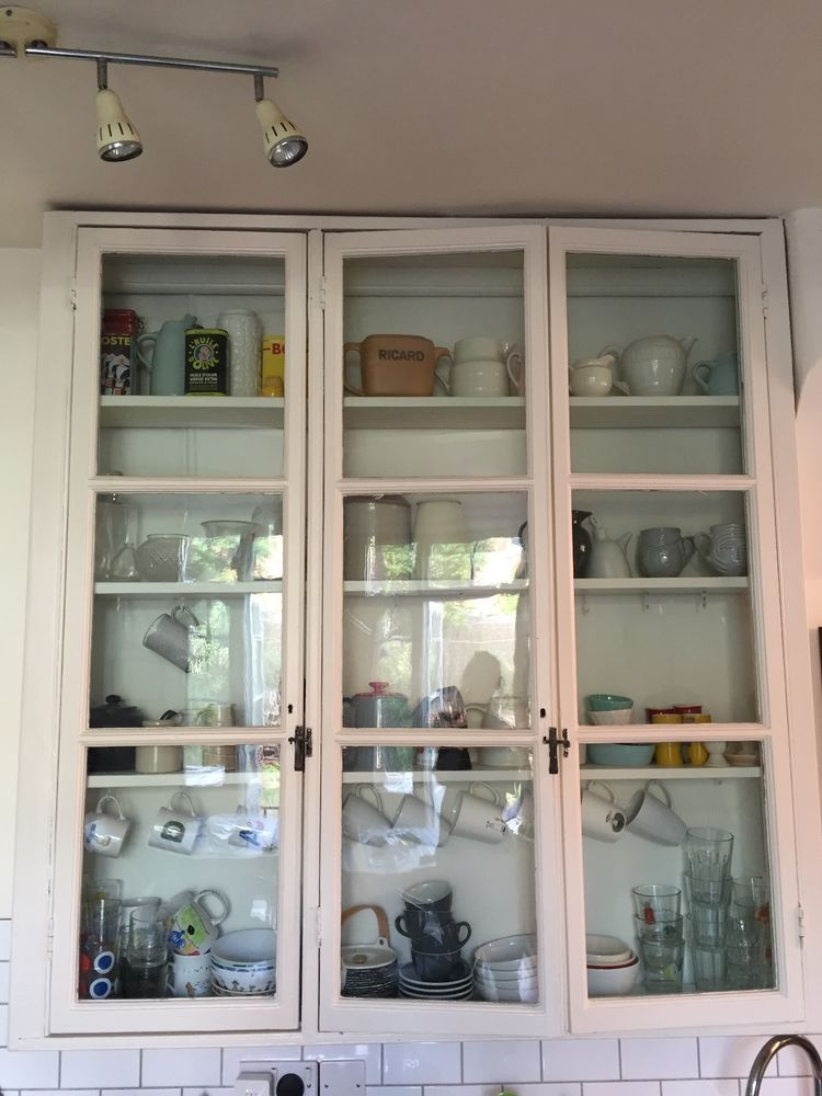 Details About Charming Tall Vintage Kitchen Cabinet With Glass Front