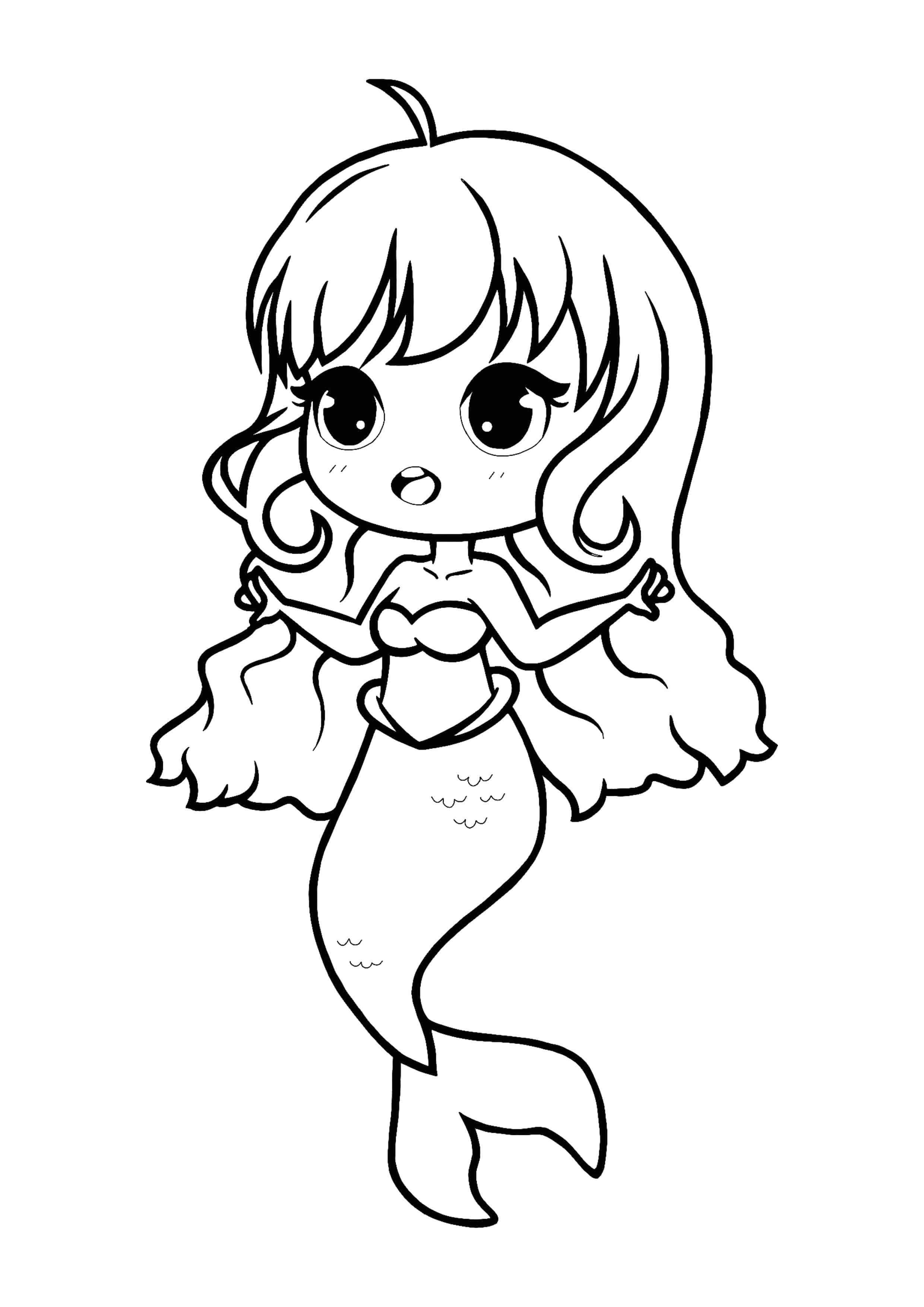 Kawaii Mermaid Coloring Page Mermaid Coloring Pages Cute Coloring Pages Mermaid Coloring