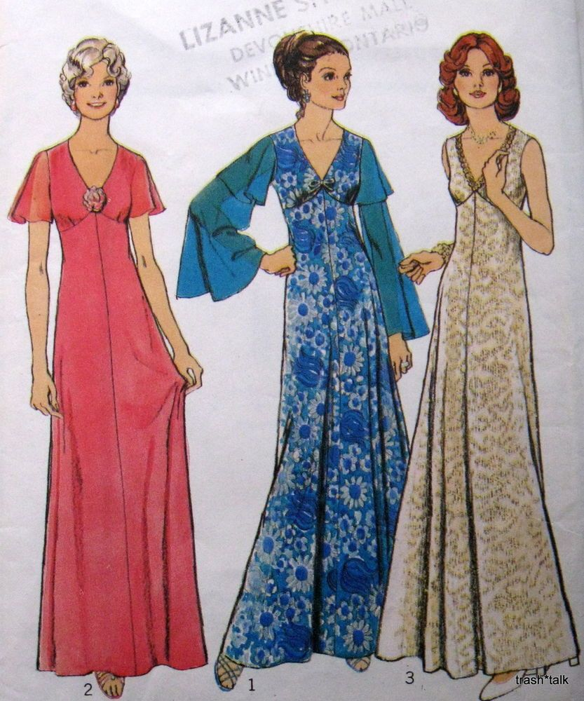 Vtg 70s Formal Gown Evening Dress Pattern Sz 12 B34 Style High Line