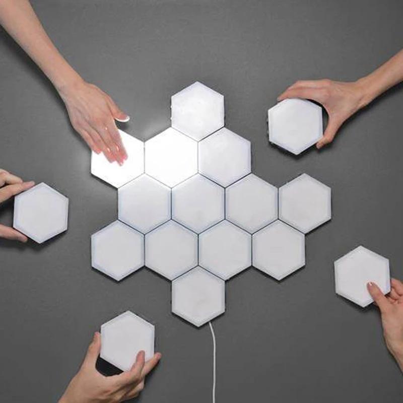 Modular Touch Sensitive Wall Light Creative Hexagonal Magnetic Tiles Design Lamp