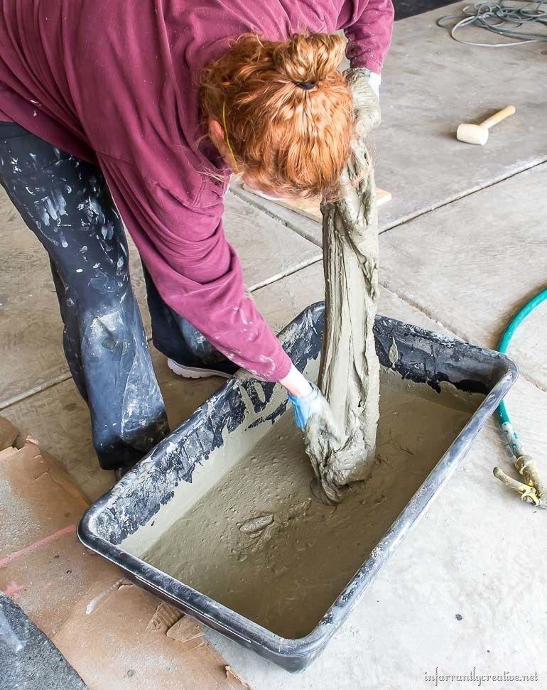 Drop Cloth and Cement Planters Diy