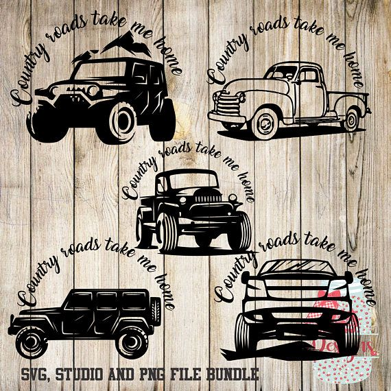 Country Road truck Bundle -SVG, Silhouette studio and png bundle -  5 design downloads