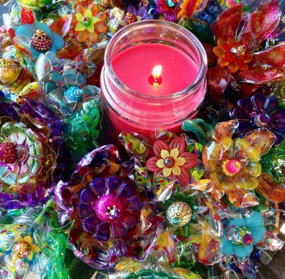 Corona di porta di fiori di plastica, Arte Riciclata, Plasti…