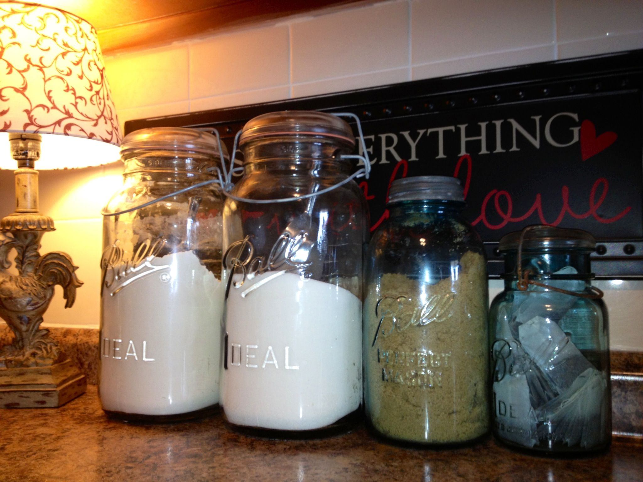 repurpose vintage ball jars as a canister set for flour sugar repurpose vintage ball jars as a canister set for flour sugar brown sugar tea in your kitchen