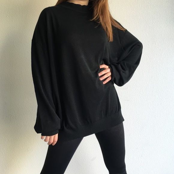 Oversized Black Mock Turtleneck Sweater Perfectly chic and so cute ...