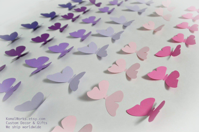 Nursery Wall Butterfly Decor Blush And Purple Butterfly Decor