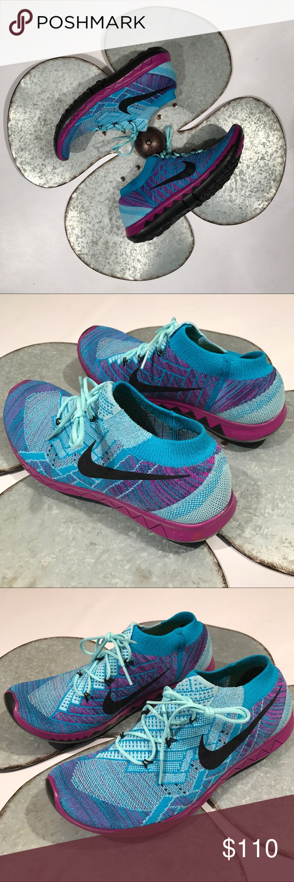 on sale 8a79c 1c2ac New Nike Free 3.0 Flyknit Blue Purple Women s 8.5 Product Information  WOMENS NIKE FREE 3.0 FLYKNIT SHOES COPA BLUE BLACK PURPLE HEATHER SIZE   WOMENS 8.5 US, ...