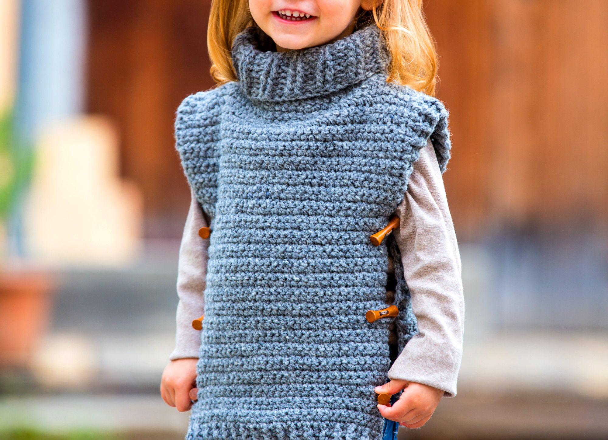 Warmer Tweed Poncho Für Kinder Stricken Pinterest Knitting