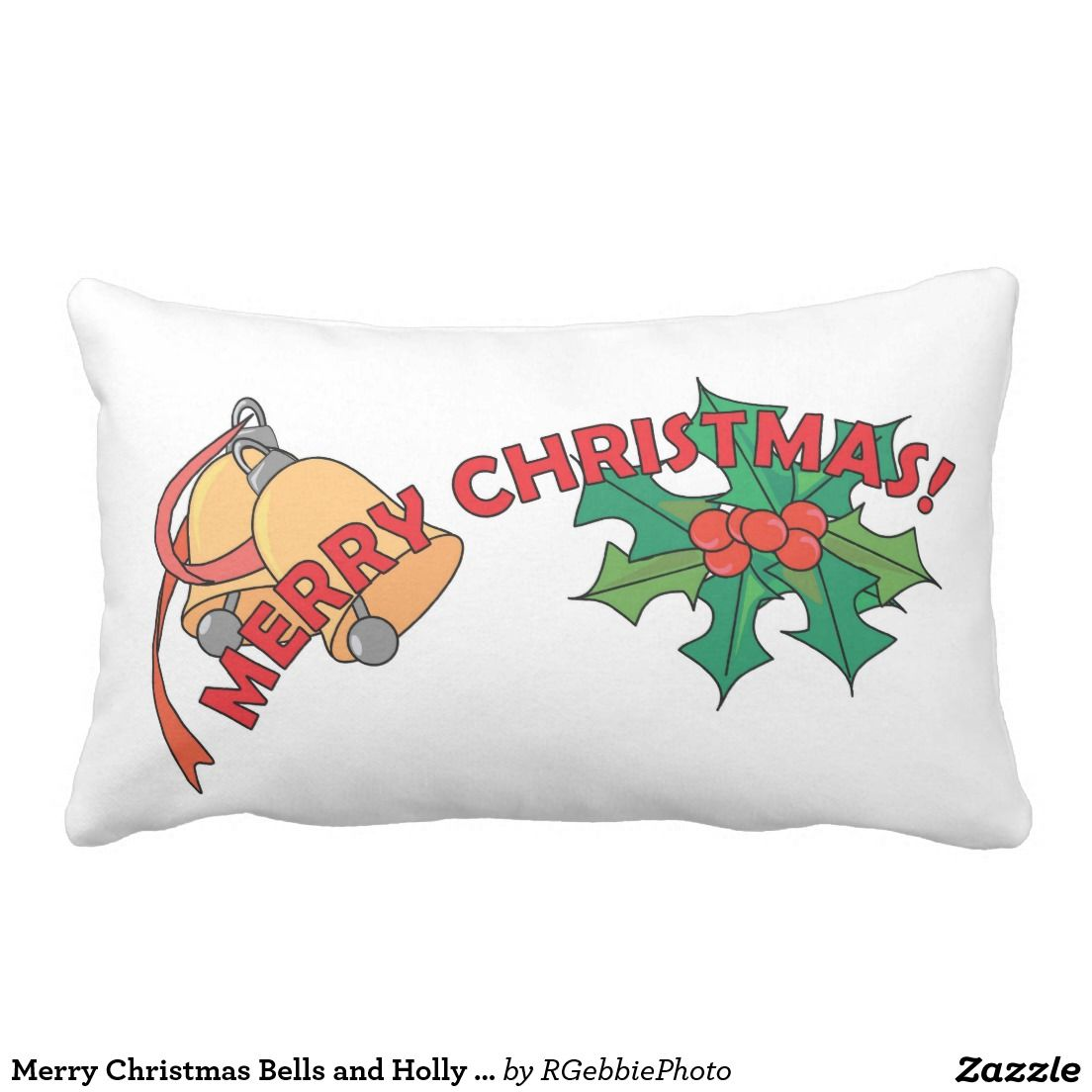 Merry Christmas Bells and Holly Postcard Throw Pillow $51.95 Designed like a soft postcard, full text fields on back. Gold bells and green holly leaves with berries. Merry Christmas in red overlaying it. Happy Holidays Christmas design! Dash off a note to a loved one! See more of our Christmas designs in our store.