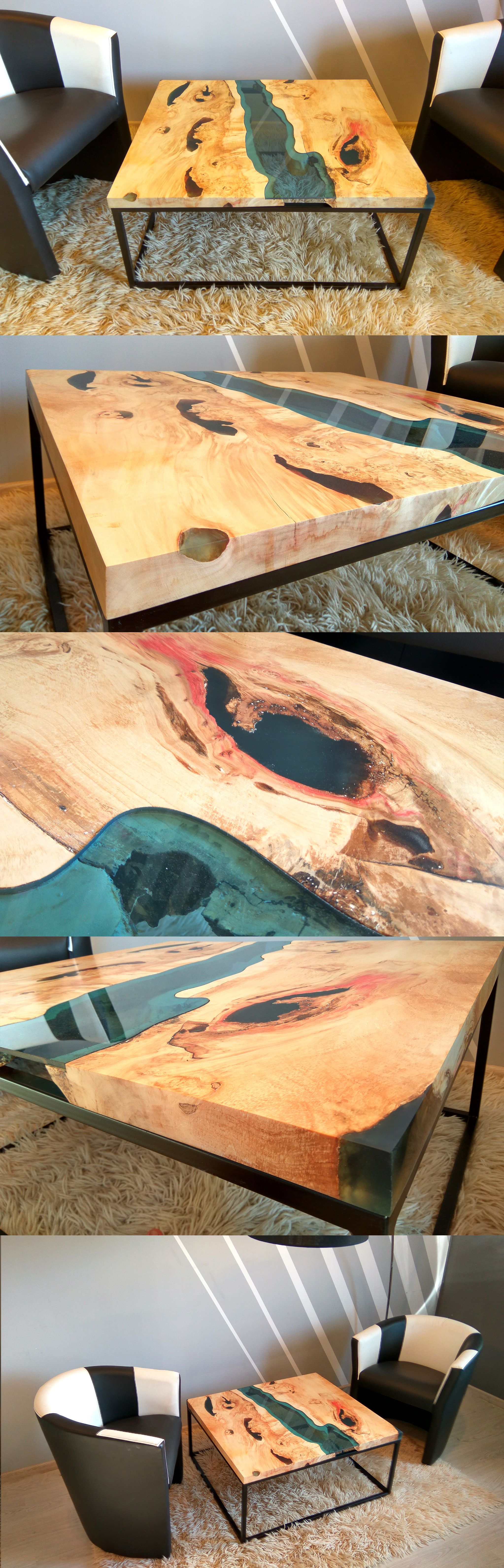 Reclaimed teak wood cracked resin side tables youtube - Live Edge River Coffee Table With Dark Blue Epoxy Inlay