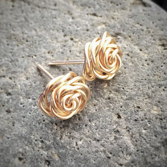 Wire Rose Earring Studs Modern Post Earrings Simple by Givaholics