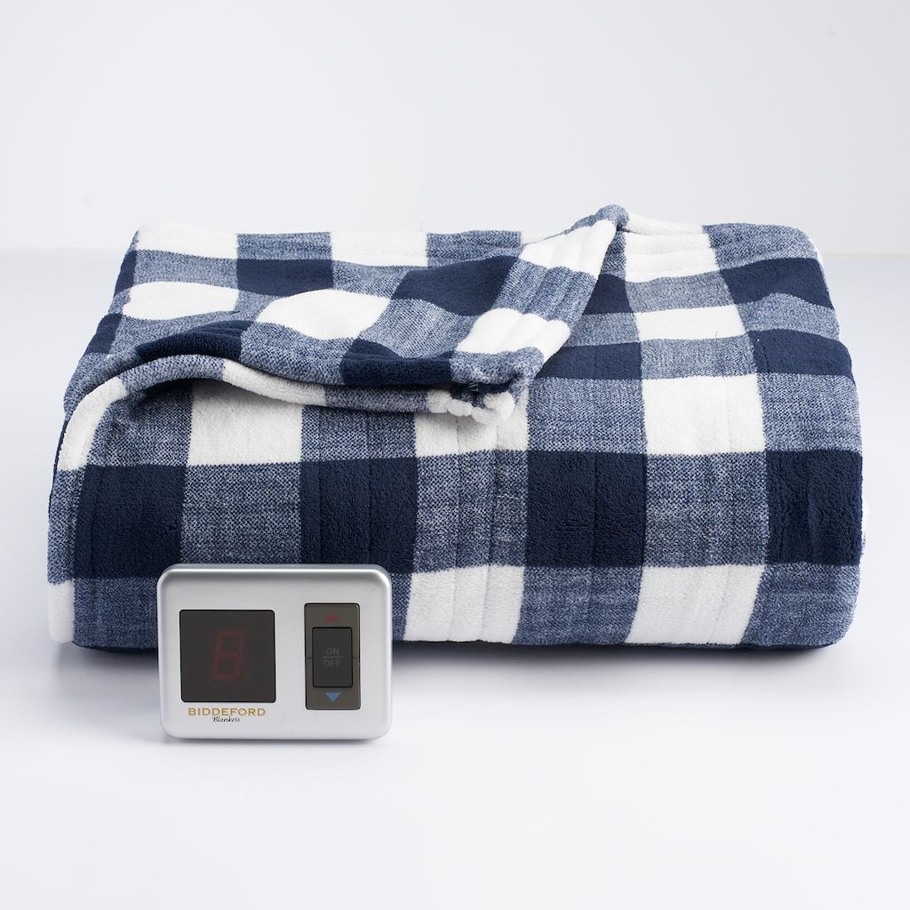 Biddeford Plush Heated Electric Blanket Blue Navy