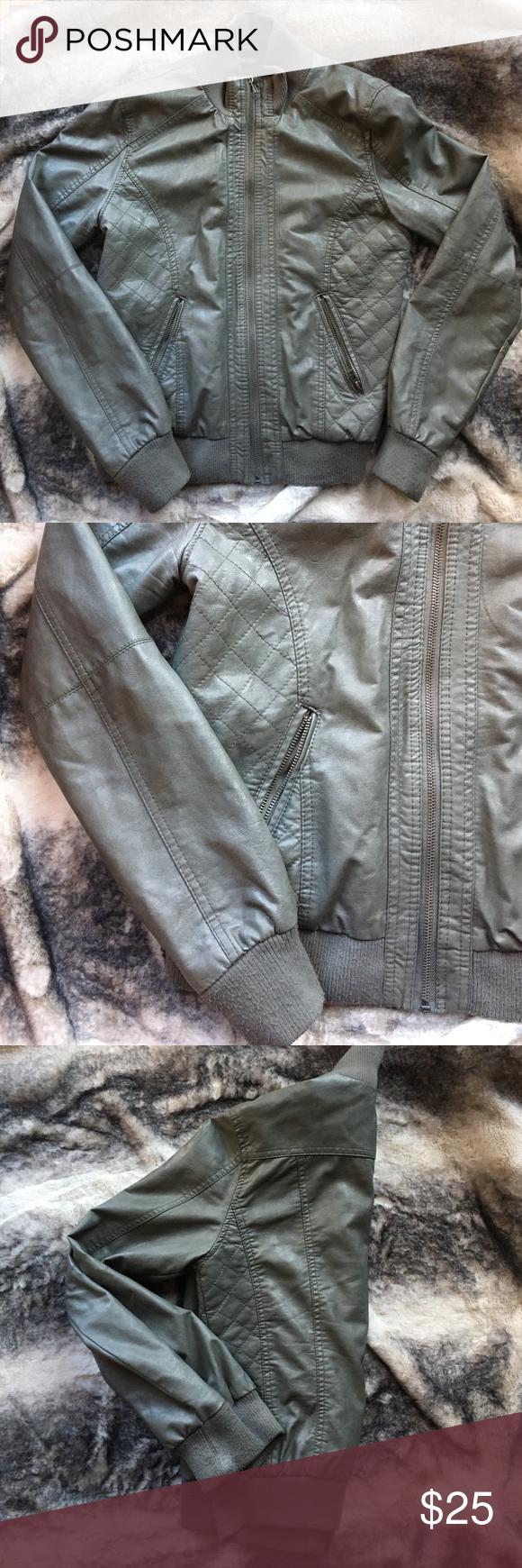 Women's Gray faux leather bomber jacket Women's size M faux leather bomber jacket. Medium wear. Comfortable rayon perfect fall/spring jacket. Xhilaration Jackets & Coats