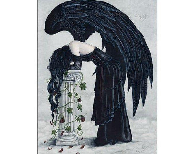 Despair PRINT Angel Gothic Sad Emotion Fantasy Art Column Roses Ivy Clouds Depression Dark Dress Watercolor 3 SIZES