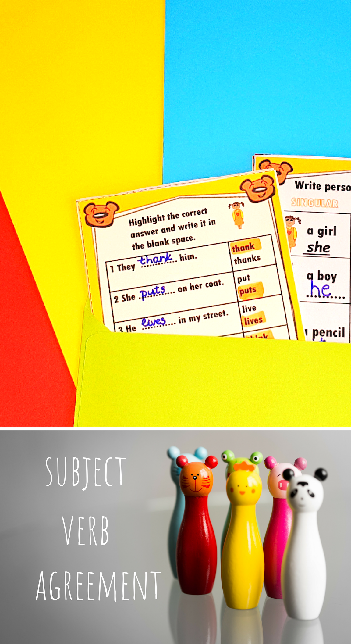 Subject Verb Agreement Worksheets Subject And Verb Subject Verb Agreement Singular And Plural Nouns [ 2112 x 1152 Pixel ]