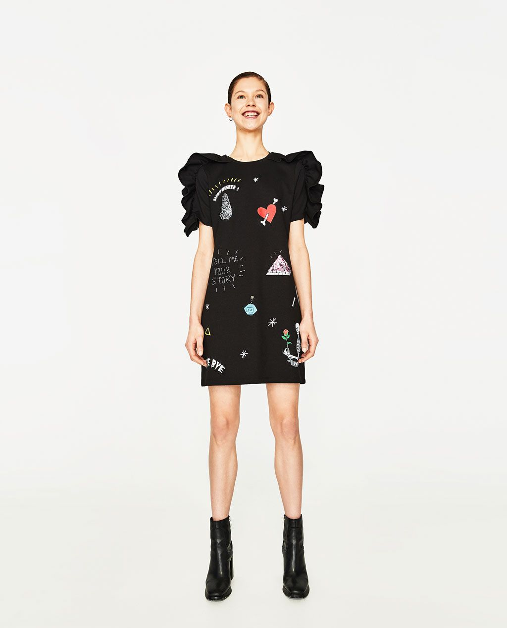 FRILL AND PATCHES DRESS-View All-DRESSES-WOMAN   ZARA United States ... 25e79f1cc1d