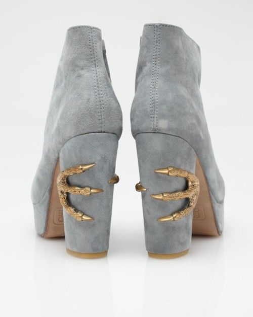dragon claw gray suede boots