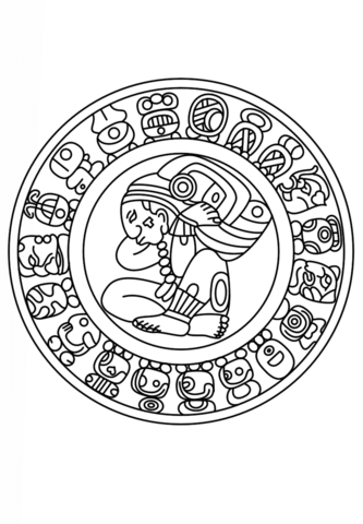 aztec murals coloring pages - photo#10