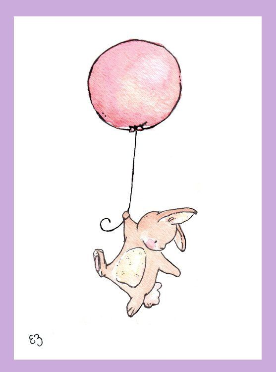 Children Art Print. Floating Bunny and Balloon. by LoxlyHollow