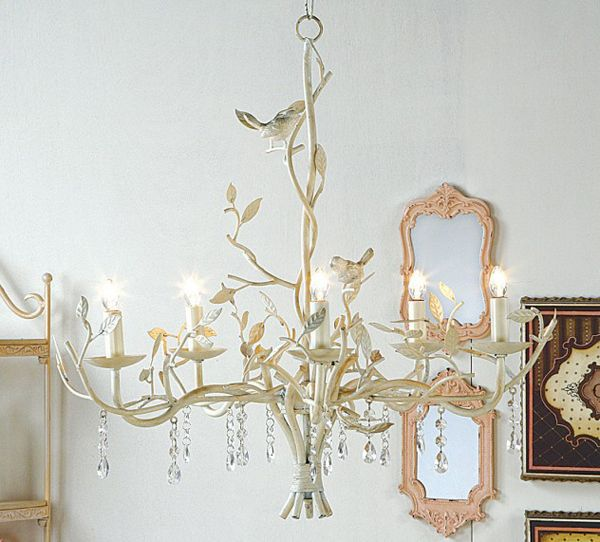 Bird Light Cottage Chic Ivory 5 Chandelier