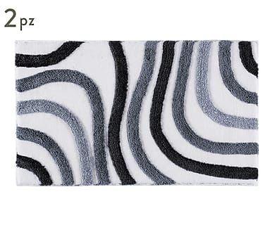 Set di 2 tappeti bagno in acrilico sardes grigio max 100x50 cm