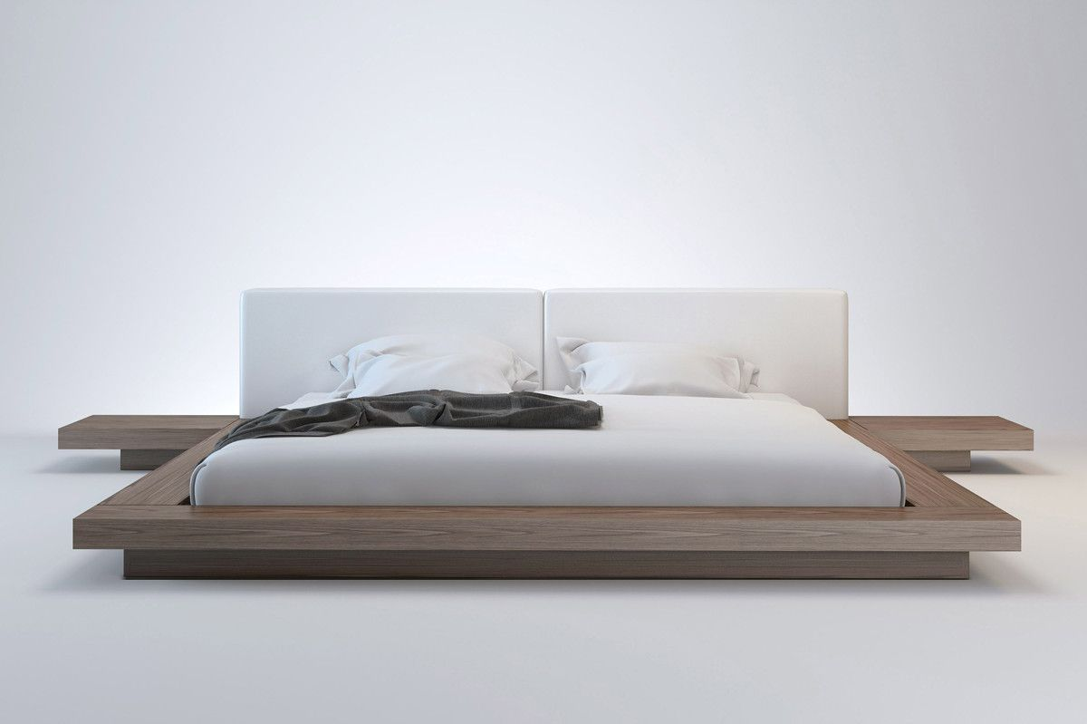 floating design natural walnut frame with extra wide white  - floating design natural walnut frame with extra wide white headboard(queen) walnut veneer and natural
