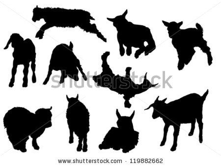 goat silhouette | ten baby goat silhouettes - stock vector ...