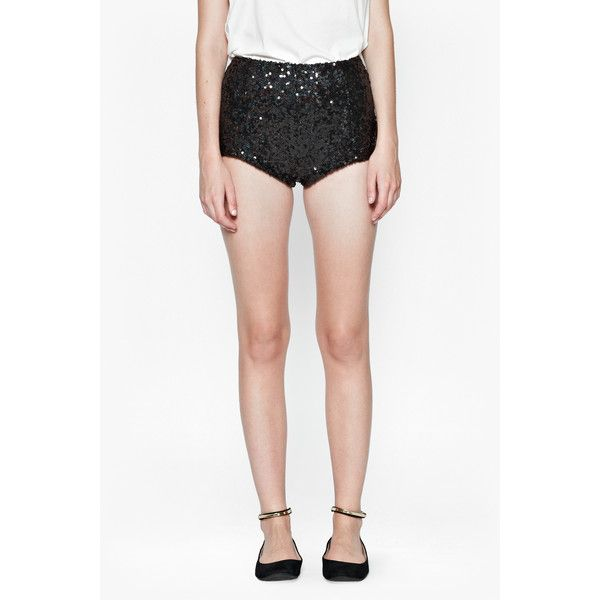 French Connection Cosmic Sparkle Short ($80) ❤ liked on Polyvore featuring shorts, bottoms, sparkly hot pants, galaxy print shorts, mini shorts, micro short shorts and sequin hot pants