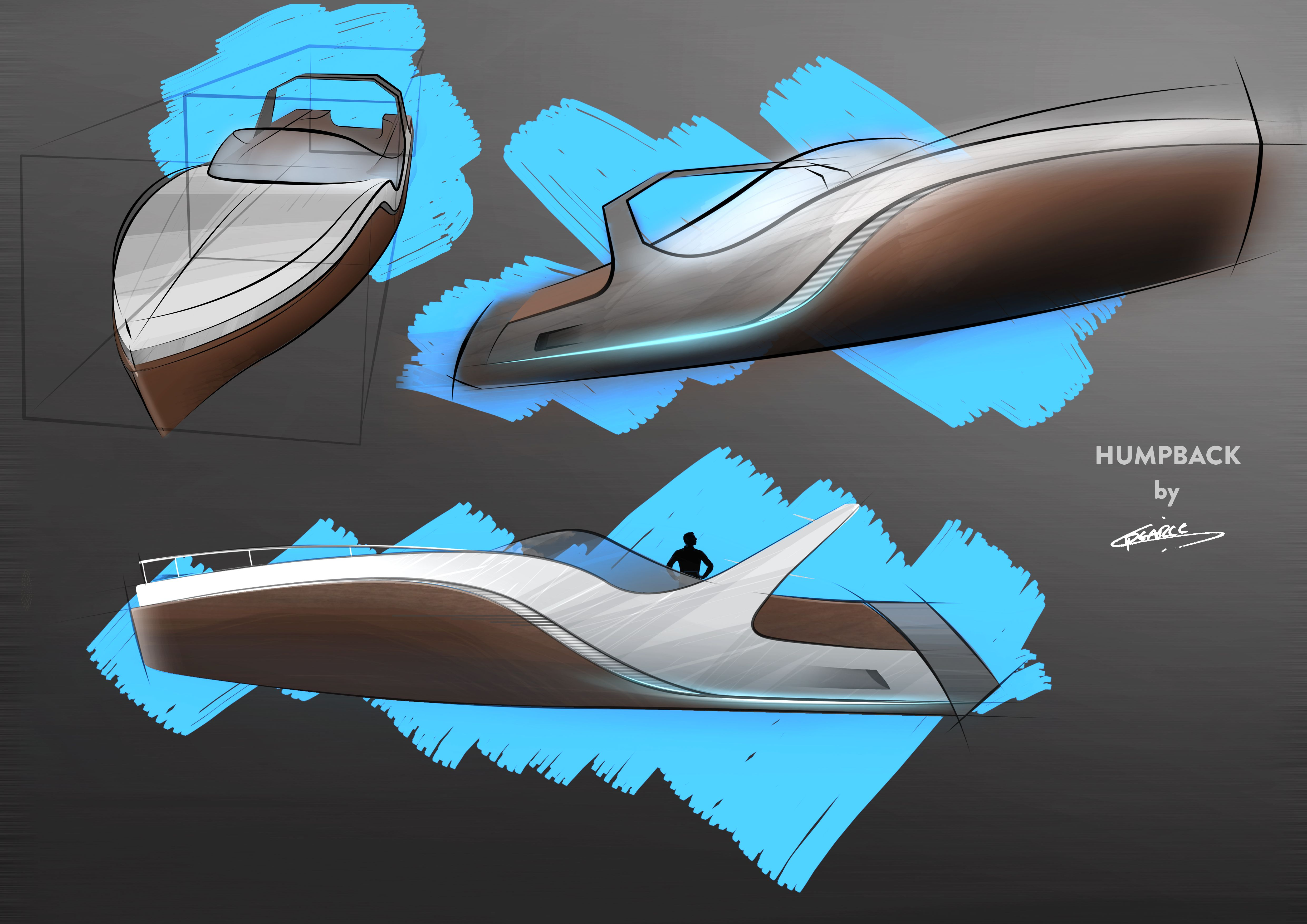 Humpback Boat Sketch WIP By Chris Pearce