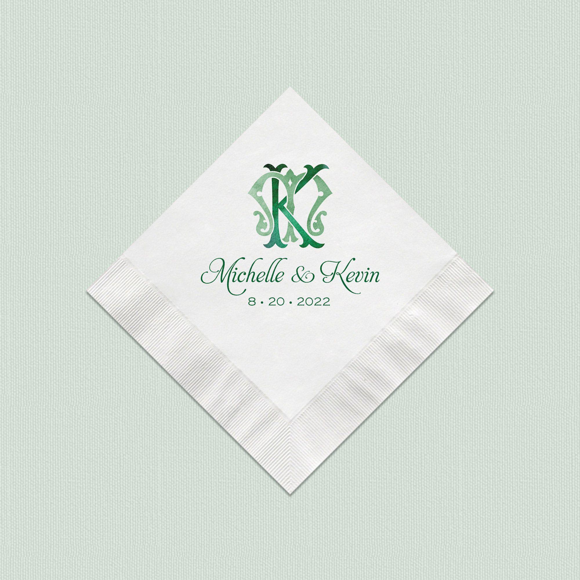 Monogram Wedding Napkins, Personalized Beverage Napkins