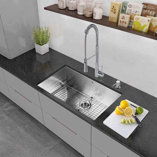 Vigo 30 Inch Undermount Single Bowl 16 Gauge Stainless Steel Kitc Stainless Steel Kitchen Sink Stainless Steel Kitchen Sink Undermount Undermount Kitchen Sinks