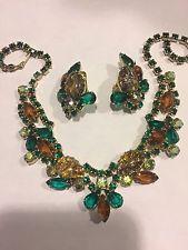 Vintage Juliana Art Deco Teardrop Cabachon Rhinestone Necklace Earring Set