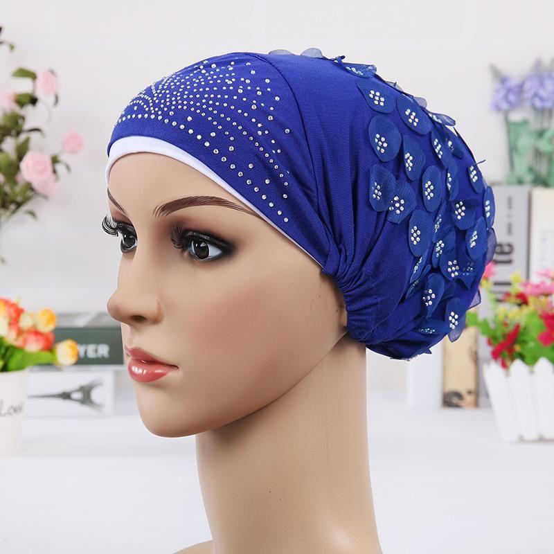 Pleated Turban Hat Brooch Wrap Headscarf Indian Muslim Hijab Pin Women Chemo Cap