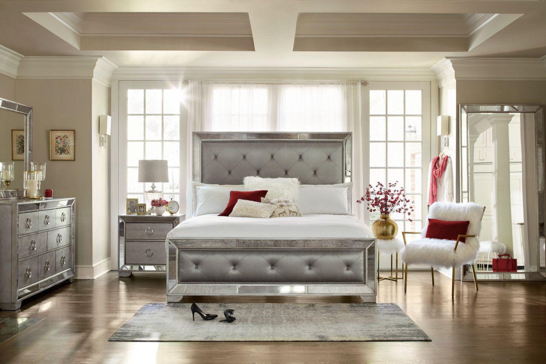 Angelina Upholstered Bed Glass bedroom furniture, Value