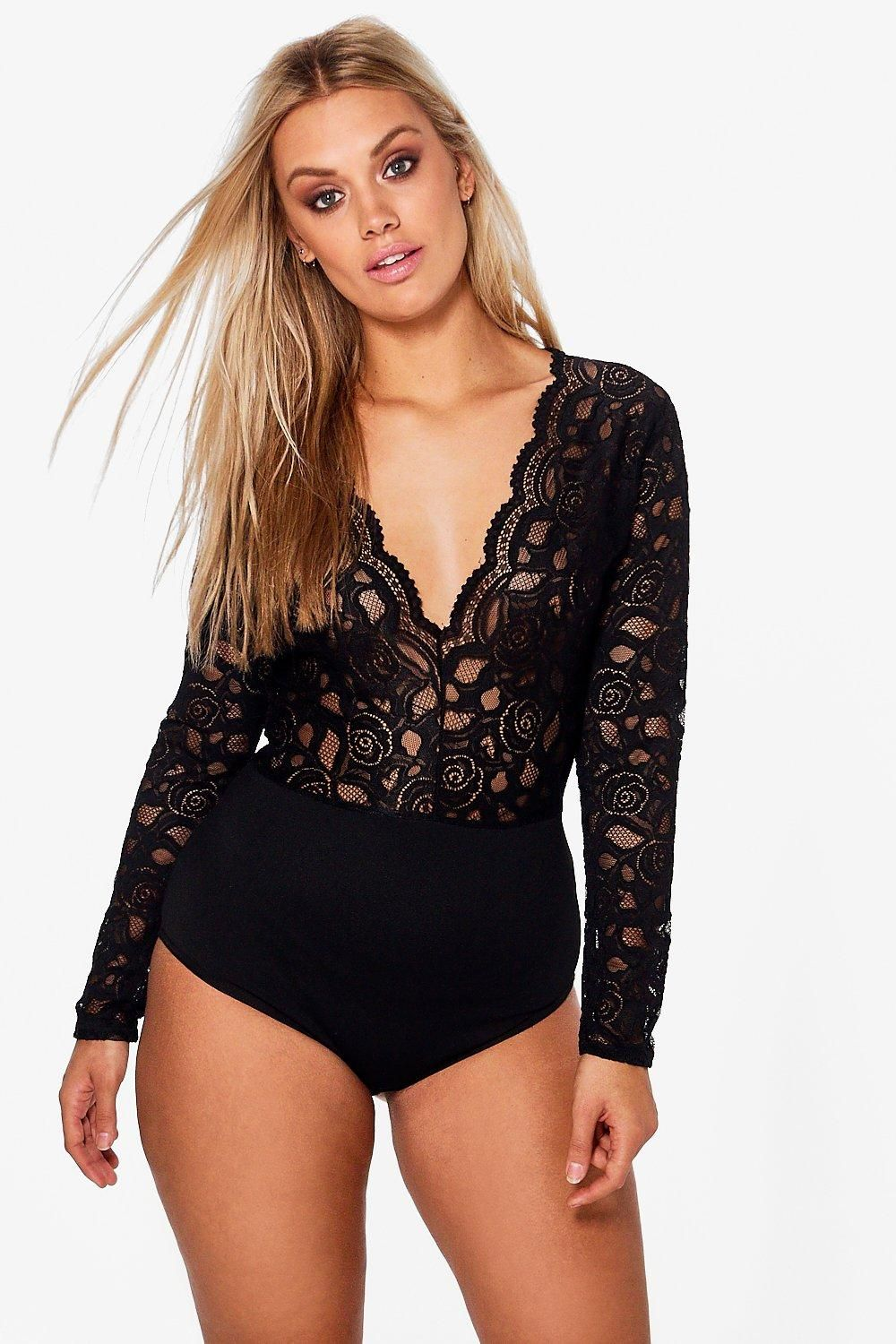 ff0ff9ec6c35 Click here to find out about the Plus Plunge V Neck Lace Bodysuit from  Boohoo, part of our latest Tops collection ready to shop online today!
