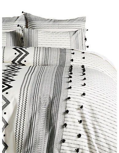 Anthropologie Home Embellished Pendana Cotton Duvet Cover Black White Size Double White Sheets Bedroom Black And White Sheets Black Duvet Cover