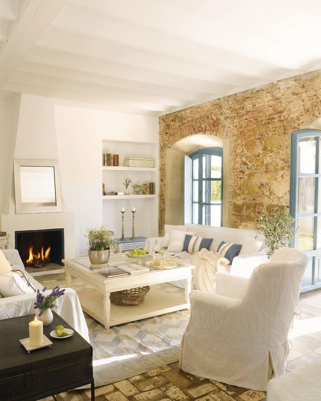 Blanco con toques de azul decoracion pinterest living rooms