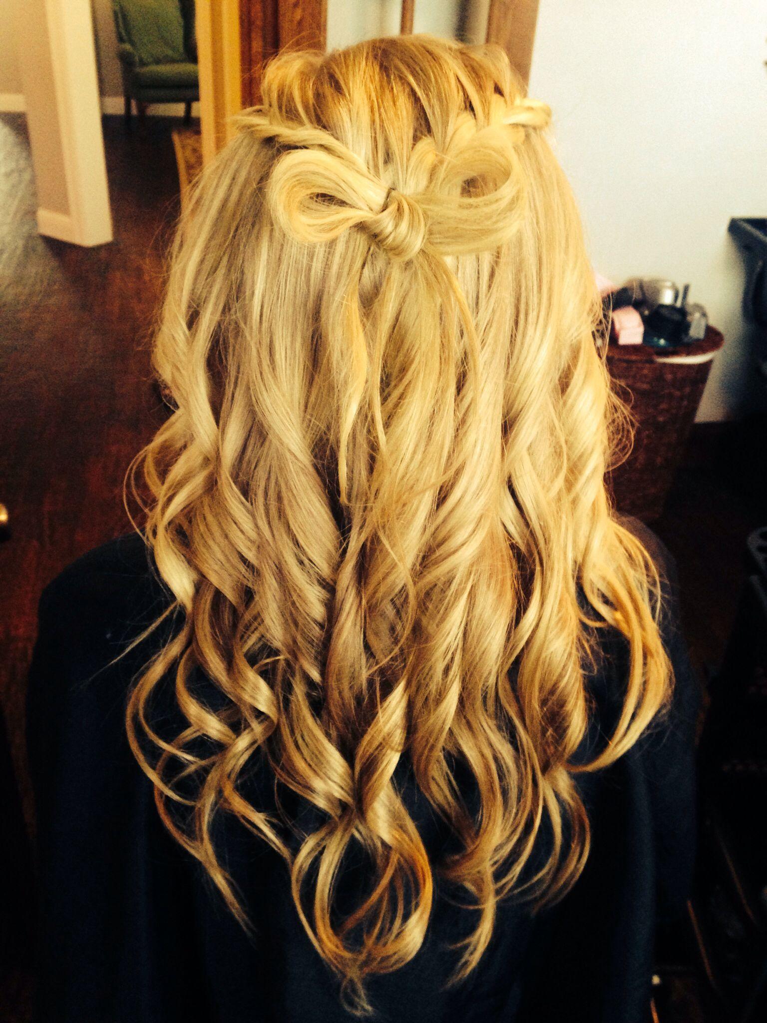 My hair cute braids into curls with a bow hair pinterest