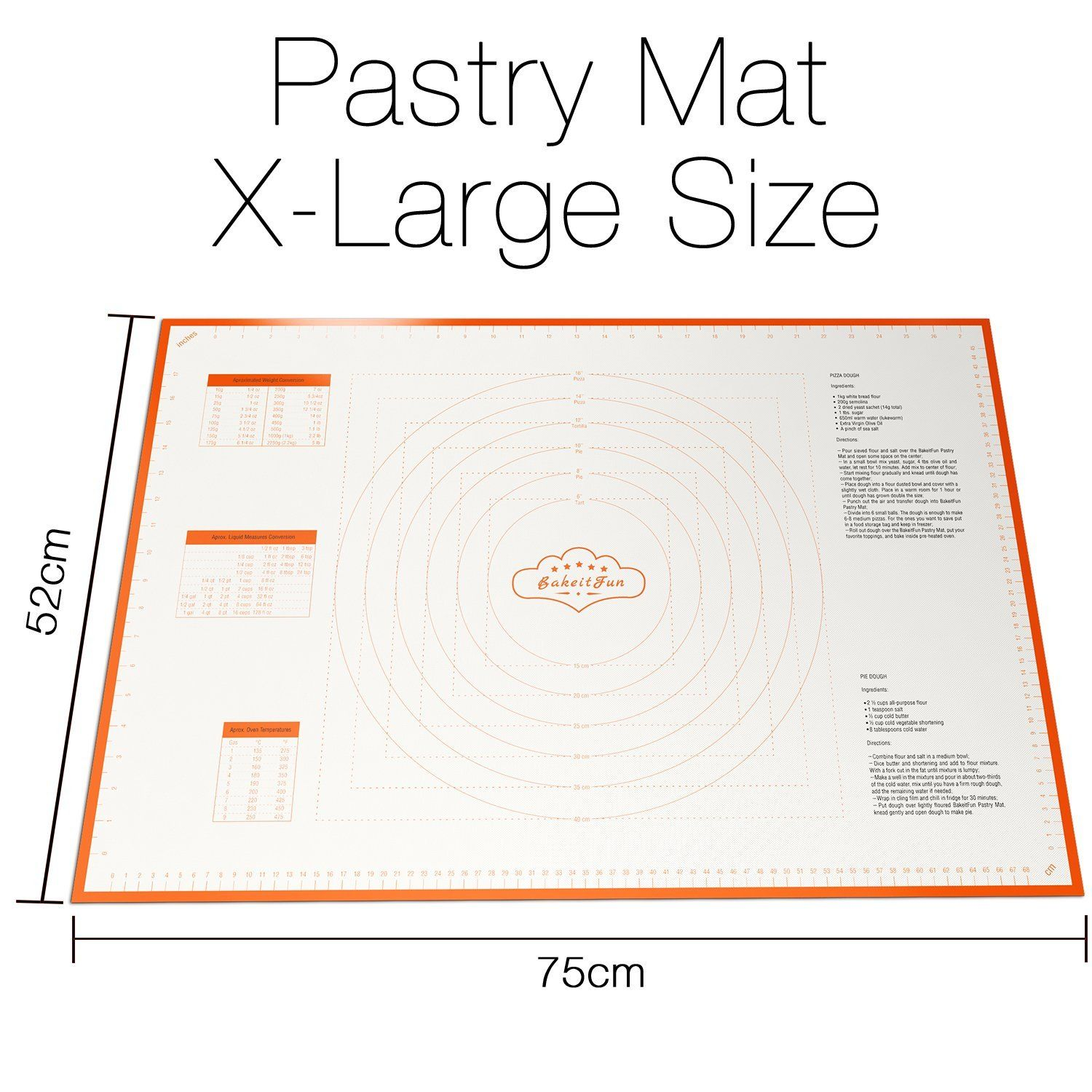 Bakeitfun Xlarge Silicone Pastry Mat With Measurements 29 5 X 20 5