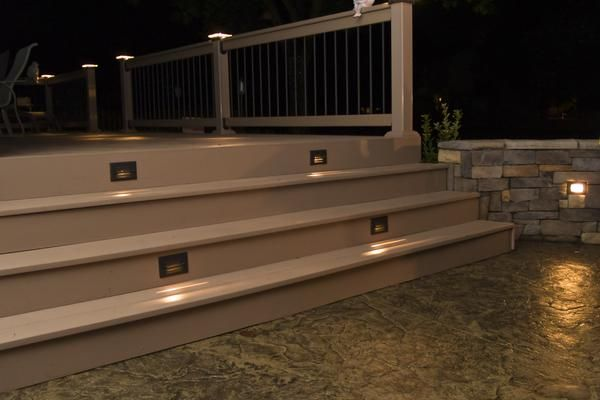 Photo gallery deck lighting decking and photo galleries deck lights deck lighting low voltage lighted post caps at night mozeypictures Image collections