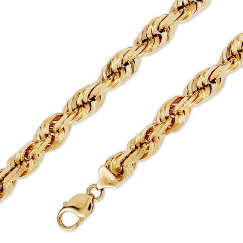 Amazon Com 14k Solid Yellow Gold D C Rope Chain Necklace 10mm 3 8 22 Jewelry Rope Chain Chain Necklace Gold Chains