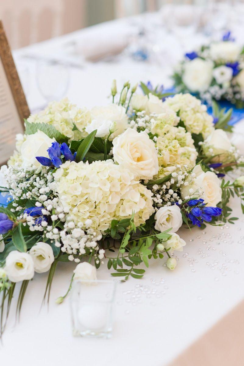 Centre De Table Mariage Fleurs Blanches Et Bleues Mariage Royal Au