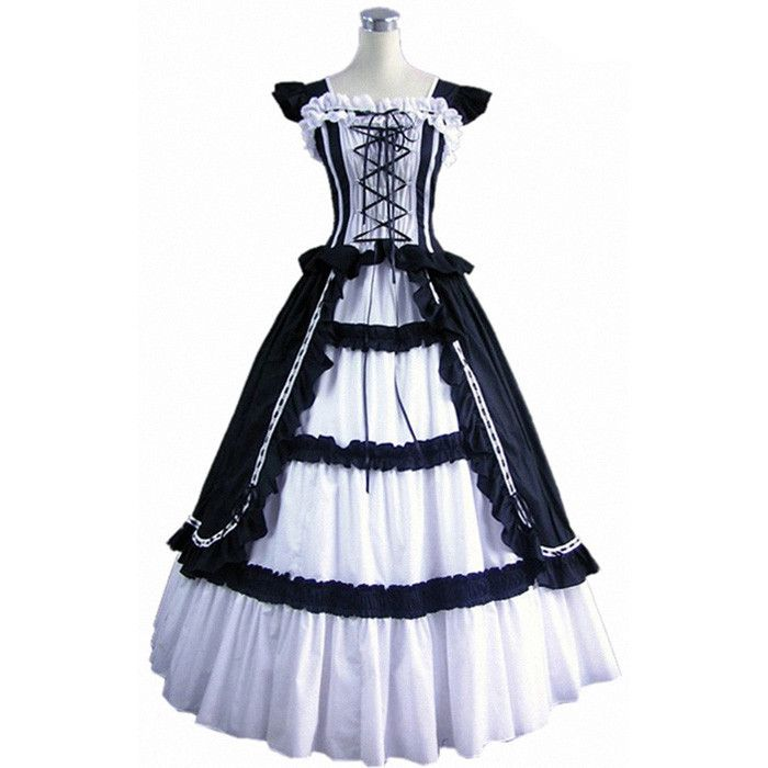 >> Click to Buy << (GT018) Black White short Sleeve Lolita Prom Dress New Fashion Women Long Dresses #Affiliate