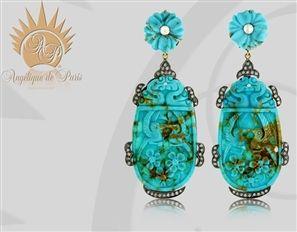 Carved Turquoise Drop Earrings - Angélique de Paris - Product Search - JCK Marketplace
