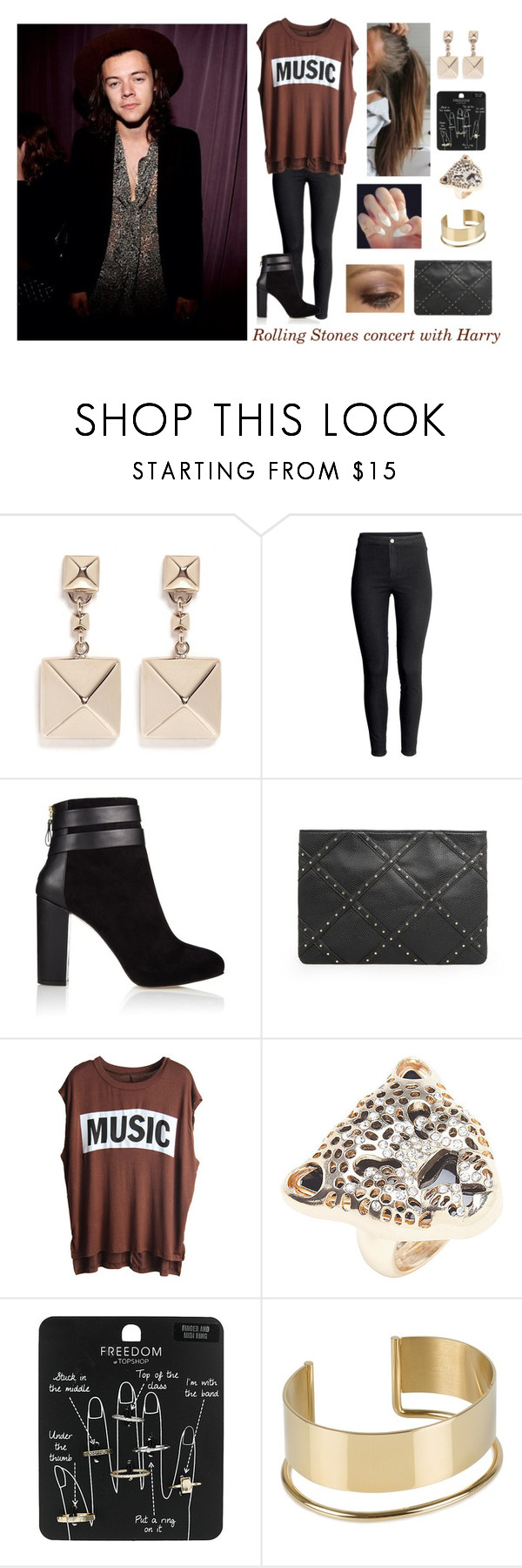 """""""Rolling Stones concert with Harry"""" by hazzabum ❤ liked on Polyvore featuring Valentino, H&M, Coye Nokes, MANGO, Lane Bryant, Topshop, By Malene Birger and harrystyles"""