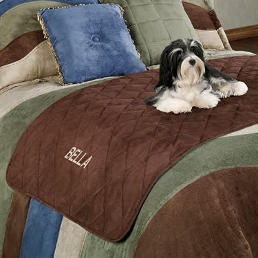 Mason Quilted Faux Suede Bed Protector For Pets Bed